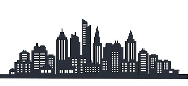 Ville silhouette paysage horizontal ville panorama