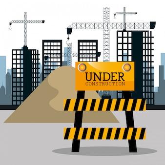 Ville sous construction icône de fond de paysage urbain