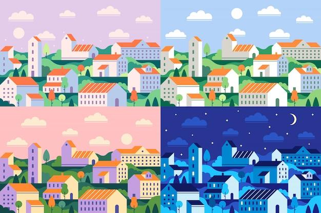 Ville de style minimal. ville minimaliste géométrique, paysage urbain de jour et illustration plate de paysage urbain de nuit