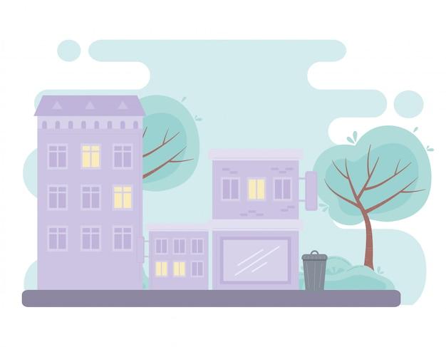 Ville Urbaine Bâtiments De Rue Conception De Structure Résidentielle Commerciale Vecteur Premium