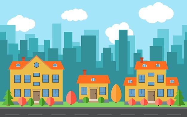 Ville de vecteur avec des maisons et des bâtiments de dessin animé. espace de la ville avec route sur le concept de fond de style plat. paysage urbain d'été. vue sur la rue avec paysage urbain sur fond