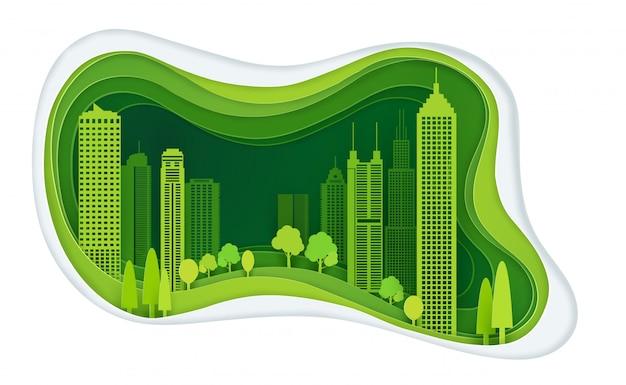 Ville verte avec l'idée de construction et d'écologie