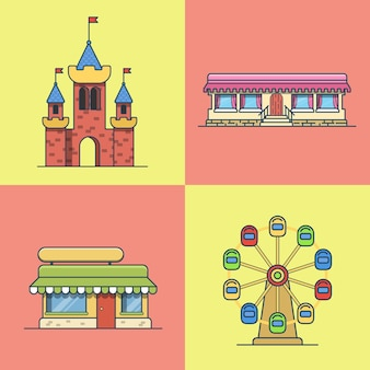Ville ville architecture château grande roue boulangerie restauration rapide restaurant café ensemble de construction. icônes de style plat contour de trait linéaire. collection d'icônes d'art ligne multicolore.