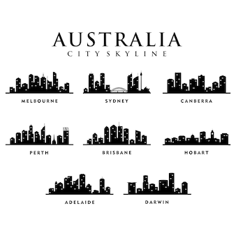 Villes d'australie - city tour skyline illustration
