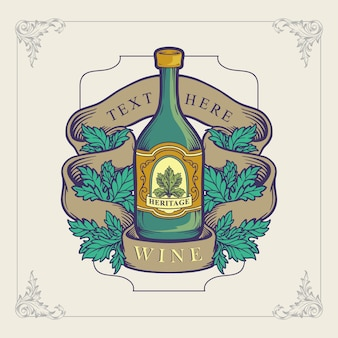 Vin de bootle pour la conception d'illustration de logo du patrimoine