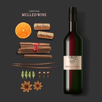 Vin chaud, bouteille de vin et ingrédients, illustration vectorielle
