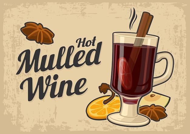 Vin chaud avec verre de boisson et ingrédients vector vieux papier beige texture background