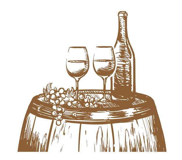 Vin composition dessinée à la main, verres, une bouteille de vin et raisins sur un tonneau.