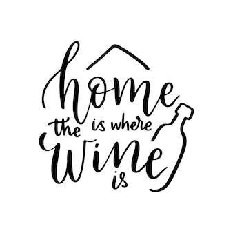 Vin drôle positif disant pour l'affiche dans cafebartshirt la maison est l'endroit où le vin est une citation vectorielle