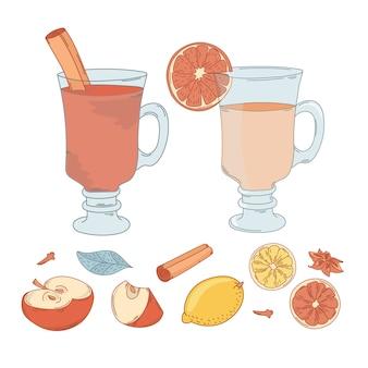 Vin mulled set noël vector illustration set pour impression
