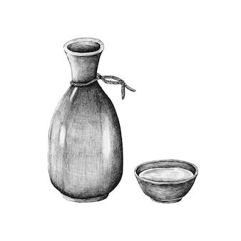 Vin de riz japonais mirin dessiné à la main