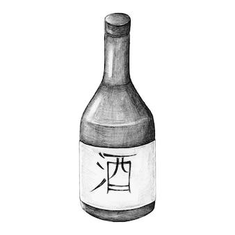 Vin de riz japonais osake dessiné à la main