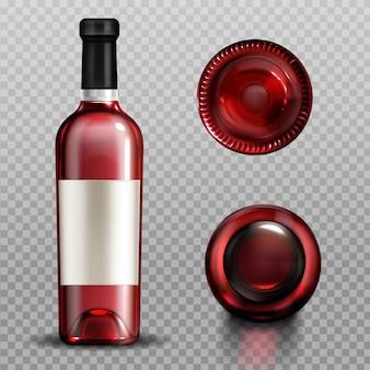 Vin rouge en bouteille en verre vue de dessus et de dessous avant