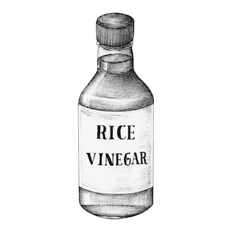 Vinaigre de riz komezu dessiné à la main