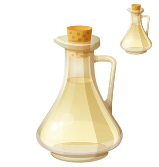 Vinaigre de vin blanc isolé sur fond blanc