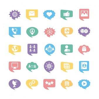 Vingt-cinq icônes de collection de marketing de médias sociaux