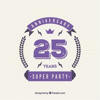 Vingt-cinquième anniversaire badge violet dans le style plat