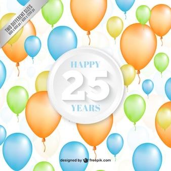 Vingt cinquième ballons d'anniversaire fond