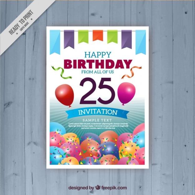 Vingt cinquième carte d'anniversaire