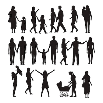 Vingt-deux silhouettes de famille
