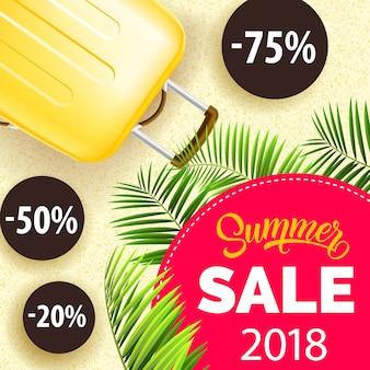 Vingt-dix-huit, vente d'été, affiche avec des feuilles de palmier, sac de voyage jaune