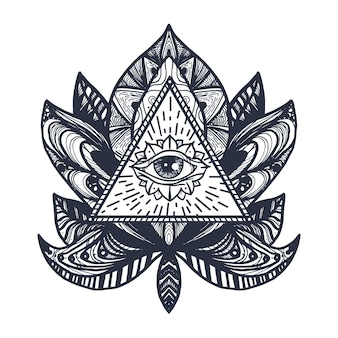 Vintage all seeing eye dans mandala lotus. symbole magique de la providence