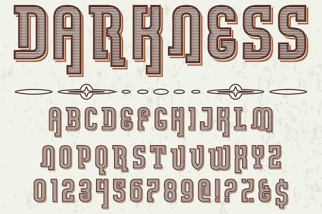 Vintage alphabet police de caractères conception d'étiquettes obscurité