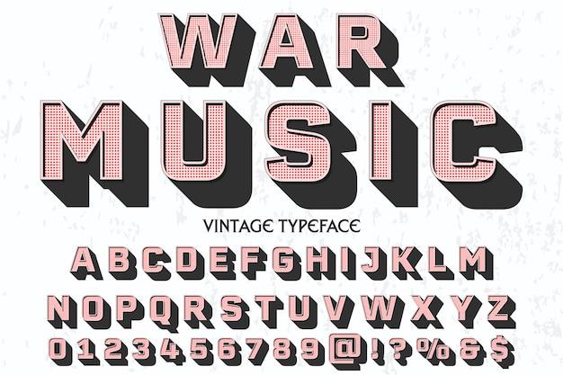 Vintage alphabet police de caractères étiquette conception musique de guerre