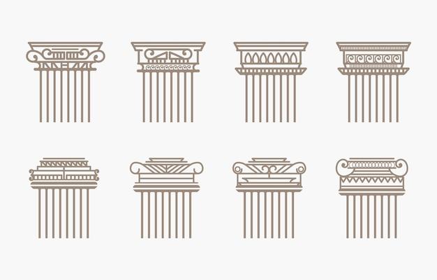 Vintage ancienne élégante architecture grecque romaine classique ligne colonnes piliers silhouette