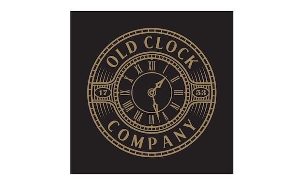 Vintage / antique old clock logo avec style steampunk
