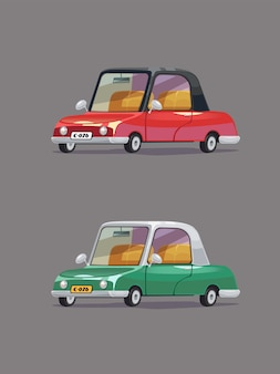 Vintage automobile vert et rouge. jeu de voitures rétro. style de bande dessinée.