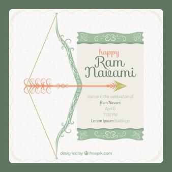 Vintage background avec un arc d'ornement pour ram navami célébration