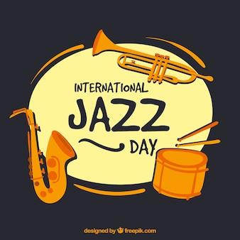 Vintage background jazz avec divers instruments de musique