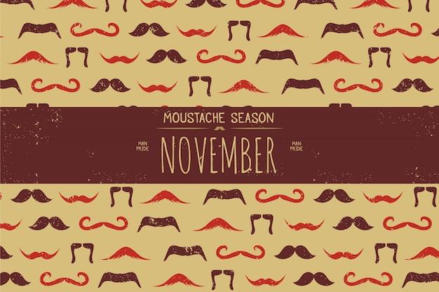 Vintage background avec des moustaches brunes et oranges