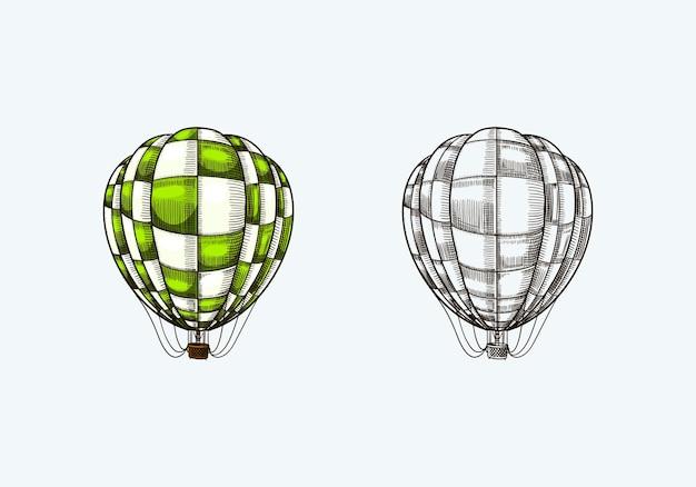 Vintage ballon à air chaud dirigeable volant rétro avec modèle d'éléments décoratifs