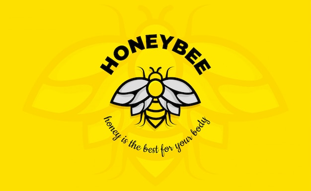 Vintage Bee Logo Design Inspiration Line Art. Modèle De Logo D'abeille Vecteur Premium