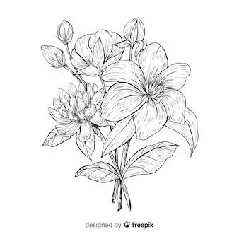 Vintage bouquet de fleurs botaniques