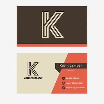 Vintage brun business carte avec la lettre k