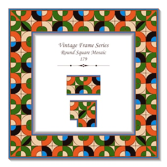 Vintage cadre 3d de pop art rond coin carré mosaïque croix
