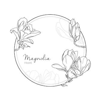 Vintage cadre dessiné à la main linéaire avec des fleurs de magnolia
