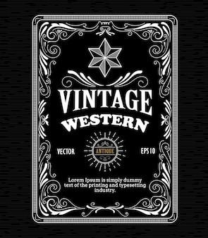 Vintage cadre frontière étiquette occidentale rétro dessiné à la main une gravure