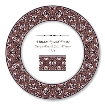 Vintage cadre rétro rond de fleur croix ronde pourpre