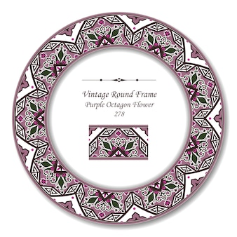 Vintage cadre rétro rond de fleur octogone violet rétro jardin botanique