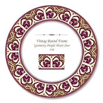 Vintage cadre rétro rond de géométrie étoile coeur violet