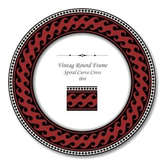Vintage cadre rond de croix de courbe en spirale rouge rétro