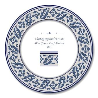 Vintage cadre rond de fleur de feuille en spirale bleu rétro