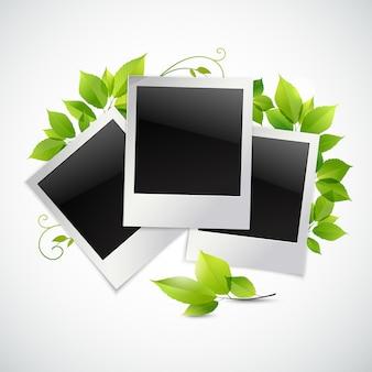 Vintage cadres photo instantané avec feuilles vertes