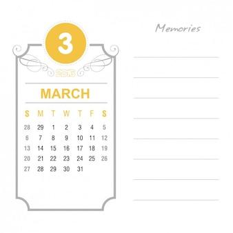 Vintage calendrier mars 2016