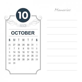 Vintage calendrier octobre 2016