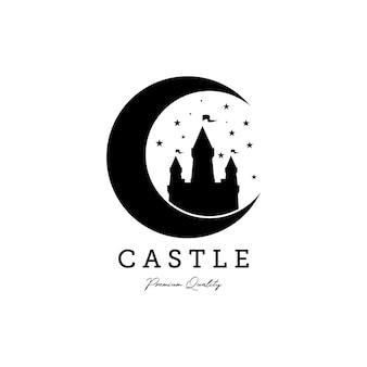 Vintage castle line art logo vector illustration design, château sur le logo de la lune